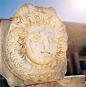 Remains of a sculpture at the ruined city of Leptis Magna, Libya