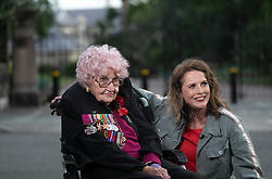 AU_1370152 - SYDNEY, AUSTRALIA  -  *EXCLUSIVE*  - Daphne Dunne, a 98-year-old war widow from Kirribilli, asked her family to take her to the Opera House so she could meet Prince Harry again. What an amazing lady she spent the whole day to see him. As she appears on the Project with Anne Edmonds for live interview in front of Admiralty House<br /> <br /> Pictured: Daphne Dunne<br /> <br /> BACKGRID Australia 16 OCTOBER 2018 <br /> <br /> BYLINE MUST READ: Trevor Goddard / BACKGRID<br /> <br /> Phone: + 61 2 8719 0598<br /> Email:  photos@backgrid.com.au