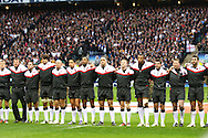 The England team sing the national anthem during the Investec series international between England and Australia at Twickenham, London, on Saturday 13th November 2010. (Photo by Andrew Tobin/SLIK images)