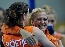 10-11-2011 VOLLEYBAL: PRE OKT NEDERLAND - ISRAEL: POREC<br /> Nederland wint vrij eenvoudig met 3-0 van Israel / (L-R) Lonneke Sloetjes, Maret Grothues<br /> ©2011-FotoHoogendoorn.nl