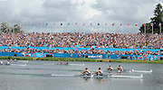 Eton Dorney, Windsor, Great Britain,..2012 London Olympic Regatta, Dorney Lake. Eton Rowing Centre, Berkshire.  Dorney Lake.  ..Men's Lightweight Doubles in the closing stages of the final with Denmark leading GB home. DEN LM2X, GBR LM2X and NZL LM2X...12:27:42  Saturday  04/08/2012 [Mandatory Credit: Peter Spurrier/Intersport Images]