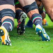 DUBLIN, IRELAND:  October 9:   Scrum practice before the Leinster V Zebre, United Rugby Championship match at RDS Arena on October 9th, 2021 in Dublin, Ireland. (Photo by Tim Clayton/Corbis via Getty Images)