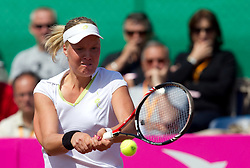 Masa Zec Peskiric of Slovenia returns the ball to Rebecca Marino of Canada during the first day of the tennis Fed Cup match between Slovenia and Canada at Bonifika, on April 16, 2011 in Koper, Slovenia.  (Photo by Vid Ponikvar / Sportida)