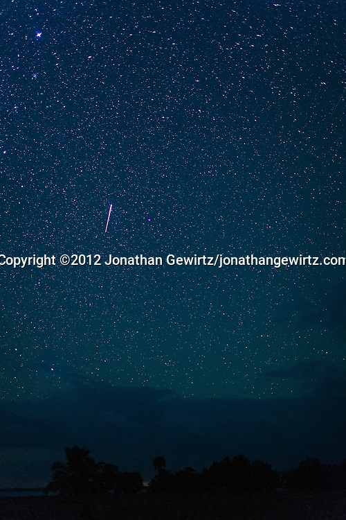 An Orionid meteor trail appears in the star-filled night sky over Florida Bay, as seen from the outdoor amphitheater area in the Flamingo section of Everglades National Park, Florida on October 21, 2012. <br /> <br /> WATERMARKS WILL NOT APPEAR ON PRINTS OR LICENSED IMAGES.<br /> <br /> Licensing: https://tandemstock.com/assets/50286222