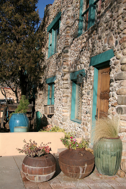 North America, USA, New Mexico, Santa Fe. Inn of Five Graces building Facade