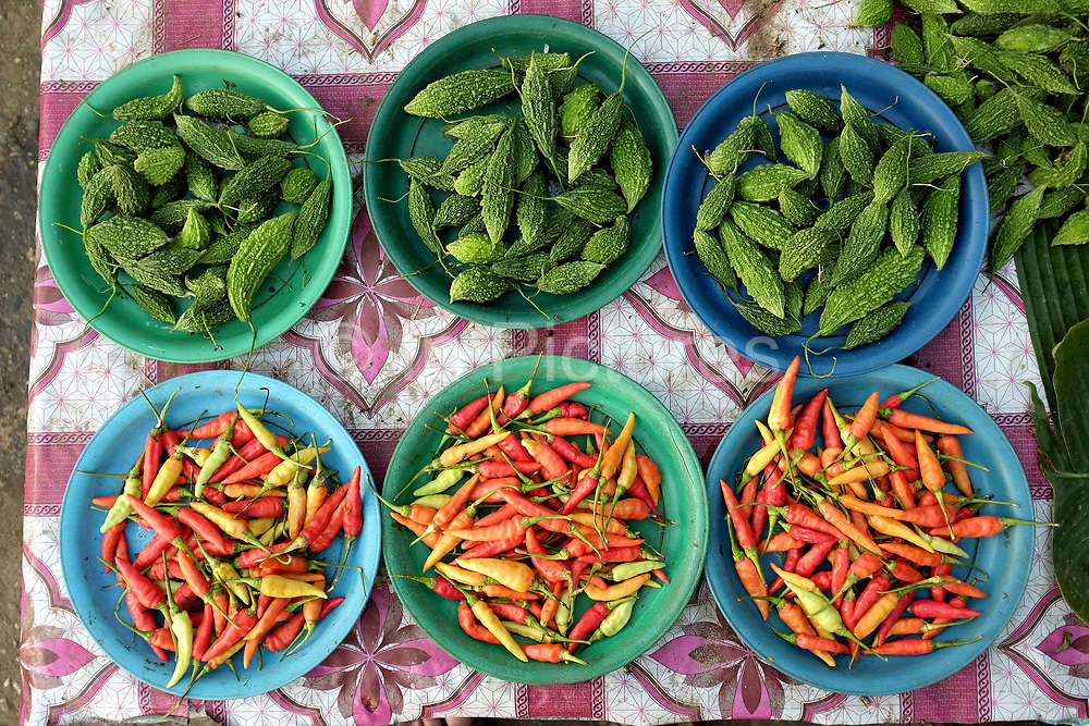 Red chillies and bitter gourds for sale at Hua Kua evening market on the outskirts of Vientiane, Lao PDR. A large variety of local products are available for sale in fresh markets all over Laos, all being sold on small individual stalls.
