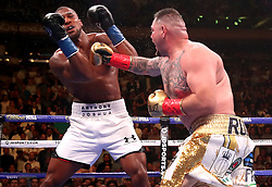 Andy Ruiz Jr (right) lands a punch on Anthony Joshua in the WBA, IBF, WBO and IBO Heavyweight World Championships title fight at Madison Square Garden, New York.