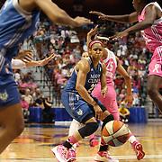 Maya Moore, Minnesota Lynx, threads a pass to a team mate during the Connecticut Sun Vs Minnesota Lynx, WNBA regular season game at Mohegan Sun Arena, Uncasville, Connecticut, USA. 27th July 2014. Photo Tim Clayton