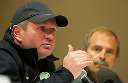 Head Coach Matjaz Kek and Bostjan Gasser during press conference of Slovenia National football team at  Hyde Park High School Stadium on June 16, 2010 in Johannesburg, South Africa.  (Photo by Vid Ponikvar / Sportida)