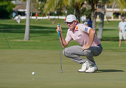 January 11, 2019 - Honolulu, HI, U.S. - HONOLULU, HI - JANUARY 11: Adam Scott surveys the green of the 13th hole during the second round of the Sony Open at the Waialae Country Club in Honolulu, HI. (Photo by Darryl Oumi/Icon Sportswire) (Credit Image: © Darryl Oumi/Icon SMI via ZUMA Press)