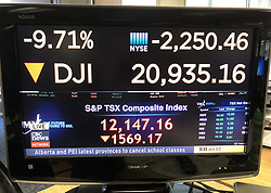 March 16, 2020, Toronto, on, Canada: Financial numbers are shown on a television screen in Toronto as markets open for trading on Monday, March 16, 2020. The Toronto S&PTSX composite index plunges more than 1,500 points at the start of trading. (Credit Image: © The Canadian Press via ZUMA Press)