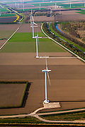 Nederland, Flevoland, Zeewolde, 01-05-2013; Wind farm De Zuidlob. Het windmolenpark (windpark) is een initiatief van  lokale agrariers / boeren en Nuon - Vattenfall . ..The wind farm in the polder Flevoland is an initiative of local farmers and Nuon - Vattenfall..luchtfoto (toeslag op standard tarieven).aerial photo (additional fee required).copyright foto/photo Siebe Swart