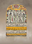 """Ancient Egyptian stele dedicated to Osiris by Neskhonsu,  Late Period, 25th Dynasty, (722-664 BC), Thebes, Cat 1596. Egyptian Museum, Turin. <br /> <br /> The round topped stele dedicated by Osiris to Neskhonsu, daaughter of Nespernebu, """"gogs father"""" of Amon. Gifted by the Cairo Museum .<br /> <br /> If you prefer to buy from our ALAMY PHOTO LIBRARY  Collection visit : https://www.alamy.com/portfolio/paul-williams-funkystock/ancient-egyptian-art-artefacts.html  . Type -   Turin   - into the LOWER SEARCH WITHIN GALLERY box. Refine search by adding background colour, subject etc<br /> <br /> Visit our ANCIENT WORLD PHOTO COLLECTIONS for more photos to download or buy as wall art prints https://funkystock.photoshelter.com/gallery-collection/Ancient-World-Art-Antiquities-Historic-Sites-Pictures-Images-of/C00006u26yqSkDOM"""