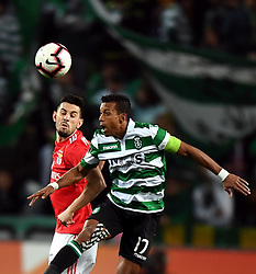 LISBON, Feb. 4, 2019  Pizzi Fernandes (L) of Benfica vies for a header with Nani of Sporting during the Portuguese League soccer match between SL Benfica and Sporting CP in Lisbon, Portugal, Feb. 3, 2019. Benfica won 4-2. (Credit Image: © Xinhua via ZUMA Wire)
