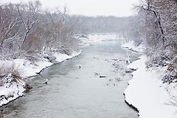 Trinity River in winter snow, Dallas, Texas, USA.