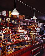 Stocked shelves of the historic Matthew Watson General Store, Carcross, Yukon Territory, Canada.