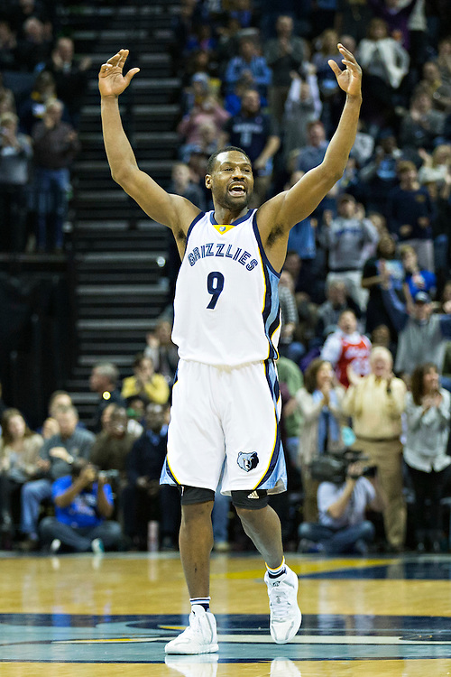 MEMPHIS, TN - JANUARY 10:  Tony Allen #9 of the Memphis Grizzlies celebrates during a game against the Boston Celtics at the FedExForum on January 10, 2016 in Memphis, Tennessee.  The Grizzlies defeated the Celtics 101-98.  NOTE TO USER: User expressly acknowledges and agrees that, by downloading and or using this photograph, User is consenting to the terms and conditions of the Getty Images License Agreement.  (Photo by Wesley Hitt/Getty Images) *** Local Caption *** Tony Allen