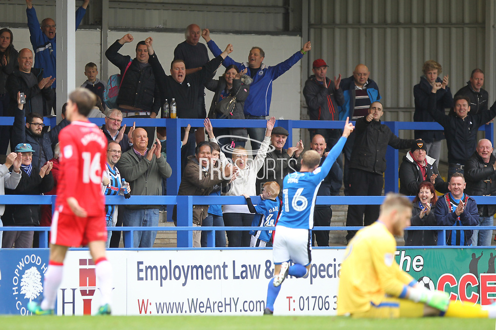 GOAL Rochdale supporters celebrate Matty Done scoring 3-0 during the EFL Sky Bet League 1 match between Rochdale and Gillingham at Spotland, Rochdale, England on 23 September 2017. Photo by Daniel Youngs.