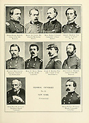 Portraits of Federal Generals of New York from the book ' The Civil war through the camera ' hundreds of vivid photographs actually taken in Civil war times, sixteen reproductions in color of famous war paintings. The new text history by Henry W. Elson. A. complete illustrated history of the Civil war