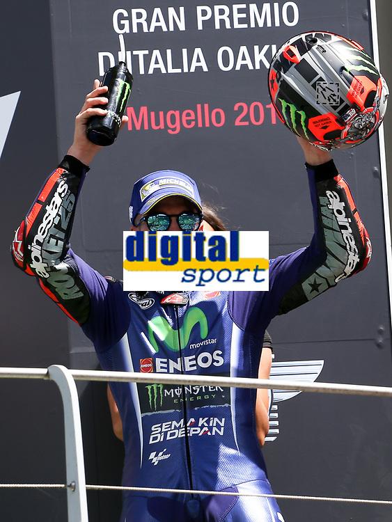Maverick ViÒales of Spain  and Movistar Yamaha MotoGP second during the Moto GP Grand Prix at the Mugello race track on June 4, 2017 celebrates on the podium. <br /> MotoGP Italy Grand Prix 2017 at Autodromo del Mugello, Florence, Italy on 4th June 2017. <br /> Photo by Danilo D'Auria.<br /> <br /> Danilo D'Auria/UK Sports Pics Ltd/Alterphotos