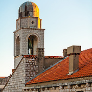 Luza, the city bell tower, at sunset. <br />