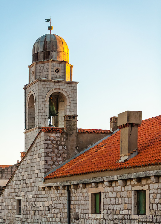 """Luza, the city bell tower, at sunset. <br /> <br /> Dubrovnik, Croatia, serves as the official setting of """"King's Landing"""" from the popular TV show """"Game of Thrones""""."""