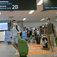 Passengers arrive at Budapest Airport on the last day before border controls reintroduced in Budapest, Hungary on Aug. 31, 2020. ATTILA VOLGYI