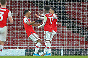 GOAL 1-0 Arsenal forward Pierre-Emerick Aubameyang (14) scores and celebrates during the Europa League match between Arsenal and Eintracht Frankfurt at the Emirates Stadium, London, England on 28 November 2019.
