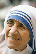 Mother Teresa of Calcutta (Mother Theresa) at her mission to aid the poor, starving and suffering in Calcutta, India