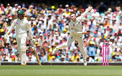 England's Mason Crane bowls during day two of the Ashes Test match at Sydney Cricket Ground.