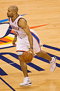 June 2, 2012; Oklahoma City, OK, USA; Oklahoma City Thunder guard Derek Fisher (37) dribbles the ball during a playoff game against the San Antonio Spurs at Chesapeake Energy Arena.  Thunder defeated the Spurs 109-103 Mandatory Credit: Beth Hall-US PRESSWIRE