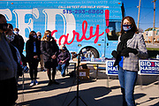 28 OCTOBER 2020 - DES MOINES, IOWA: US Representative CINDY AXNE talks to voters at a Get Out the Vote event at Drake University. Rep. Axne hosted a Get Out the Vote event at Drake University Wednesday morning. Axne, a Democrat, represents Iowa's 3rd District, from the southwest corner of the state up through the Des Moines area. She is in a tight race for reelection with David Young, the Republican she defeated in 2018.    PHOTO BY JACK KURTZ