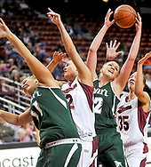 Sun-News photo by Norm Dettlaff<br /> Hawaii's Katie Wilson, left, and Rebecca Dew, third left, reach for the rebound with New Mexico State's Malia Magazzeni, second left, and Camila Rosen on Saturday at the Pan American Center.
