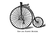 Sun and Planet high wheel bicycle From Wheels and Wheeling; An indispensable handbook for cyclists, with over two hundred illustrations by Porter, Luther Henry. Published in Boston in 1892