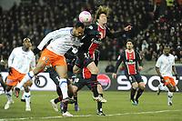 FOOTBALL - FRENCH CHAMPIONSHIP 2011/2012 - L1 - PARIS SAINT GERMAIN v MONTPELLIER HSC  - 19/02/2012 - PHOTO JEAN MARIE HERVIO / REGAMEDIA / DPPI - GARRY BOCALY (MHSC) / MAXWELL (PSG)