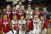 El Paso Harmony Science Academy poses with their State Semi-finalist plaque during the UIL Conference 1A semifinals at the Frank Erwin Center in Austin on Thursday, March 7, 2013. (Cooper Neill/The Dallas Morning News)