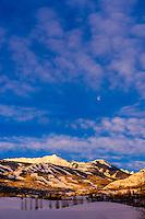 Ski slopes at Aspen/Snowmass ski resort at sunrise, Colorado USA.