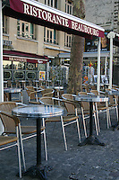 Tables outside a café, Paris, France<br />