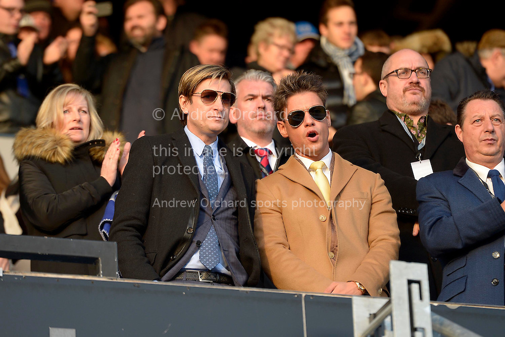 Steve Parish, the Crystal Palace chairman (l) in the stands before k/o. Barclays Premier league match, Queens Park Rangers v Crystal Palace at Loftus Road in London on Sunday 28th December 2014.<br /> pic by John Patrick Fletcher, Andrew Orchard sports photography.