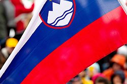 Slovenian flag during Flying Hill Team at 3rd day of FIS Ski Jumping World Cup Finals Planica 2011, on March 19, 2011, Planica, Slovenia. (Photo by Vid Ponikvar / Sportida)