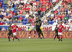 August 5, 2018 - Harrison, New Jersey, United States - Marc Rzatkowski (90) of Red Bulls & Lee Nguyen (24) of LAFC fight for ball during regular MLS game at Red Bull Arena Red Bulls won 2 - 1 (Credit Image: © Lev Radin/Pacific Press via ZUMA Wire)