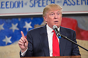 Millionaire businessman Donald Trump addresses supporters at the South Carolina Tea Party Coalition convention on January 19, 2015 in Myrtle Beach, South Carolina. A variety of conservative presidential hopefuls spoke at the gathering on the third day of a three day event.