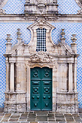 Tiled front of Venerable Third Order of Saint Francis - church, museum and hospital with azulejos tiles in town of Guimaraes in Portugal