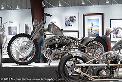 "Jeff Cochran's custom Panhead in Michael Lichter's Motorcycles as Art annual exhibition titled ""The Naked Truth"" at the Buffalo Chip Gallery during the 75th Annual Sturgis Black Hills Motorcycle Rally.  SD, USA.  August 4, 2015.  Photography ©2015 Michael Lichter."