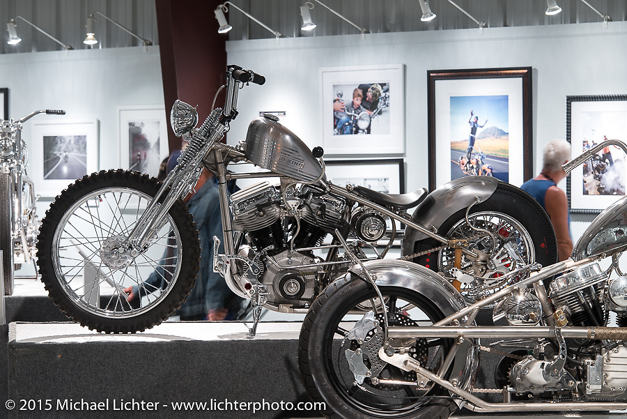 """Jeff Cochran's custom Panhead in Michael Lichter's Motorcycles as Art annual exhibition titled """"The Naked Truth"""" at the Buffalo Chip Gallery during the 75th Annual Sturgis Black Hills Motorcycle Rally.  SD, USA.  August 4, 2015.  Photography ©2015 Michael Lichter."""