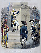French campaign in Egypt (1798-1801) Napoleon Bonparte (1769-1821) addressing his troops. 'Soldiers! Today we celebrate the anniversary of the French Republic.' Coloured engraving, 1847.
