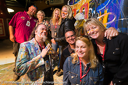 Artist/painter Perego Sandy, Shelly and the entire Rossmeyer family on stage at the 20th Anniversary party for the Destination Harley-Davidson dealership in Ormond Beach, FL during Daytona Bike Week. FL, USA. March 10, 2014.  Photography ©2014 Michael Lichter.