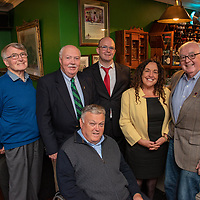 REPRO FREE<br /> Michael Frawley Sr., The White House; Rick O'Neill, Newport Twinning Committee; John Twomey, Kinsale Twinning Committee; Michael Frawley Jr., The White House; Deputy Margaret Murphy O'Mahony TD and Paul Shea, Newport Twinning Committee pictured at the official unveiling of a new Whiskey Cabinet in The Fifth Ward Bar at The White House Kinsale to commemorate the 20th anniversary of the Twinning of Kinsale and Newport, Rhode Island. <br /> Picture. John Allen<br /> <br /> TEXT OF SPEECH BY MICHAEL FRAWLEY JR<br /> Distinguished guests, members of Cork County & Bandon/Kinsale Municipal District Council & Members of Dáil & Seanad Éireann. Locals, visitors, friends and family<br /> This is our New Whiskey Cabinet in The Fifth Ward Bar at The White House Kinsale. It is to commemorate the 20th anniversary of the Twinning of Kinsale and Newport RI. <br /> <br /> I would like to start by welcoming you all and thanking you for braving the elements and making the trip in, although some of you didn't have to travel to far, which may be a good thing after the weekend you have just had.<br /> <br /> As you all know this weekend was our 43rd Gourmet festival which now coincides the Kinsale Newport Restaurant exchange, which in the absence of a town council has now become the Official Visit for our friends of old and the ones we have yet to meet  from Newport who are officially represented today by Rick O'Neill <br /> <br /> I am sure the big 20th anniversary will be commemorated officially at a later date, or in 2020 to mark the coming of age 21st Birthday. On that note I would like to thank the Municipal district council for hosting the dinner on Friday evening, it was a thoroughly enjoyable, While I am at it I would also like to thank Comans Beverages, Findlaters and Cassidys Wines for supplying refreshments for that evening. <br /> <br /> Since this is where it all began and the seeds were sown 22 years ago we thought it fitting that we should mark the 20th ann