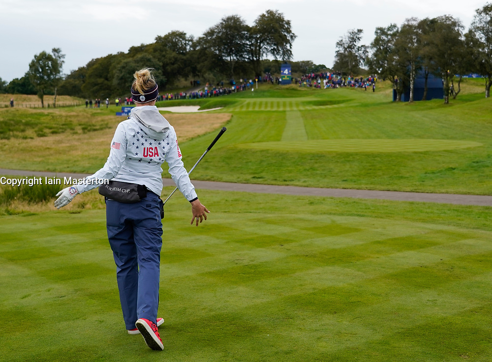 Auchterarder, Scotland, UK. 14 September 2019. Saturday morning Foresomes matches  at 2019 Solheim Cup on Centenary Course at Gleneagles. Pictured; Nelly Korda of team USA treacts to bad tee shot on short 4th hole. Iain Masterton/Alamy Live News