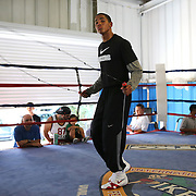 ORLANDO, FL - Felix Verdejo jumps rope in the ring during a media day workout at the Orlando Sports Martial Arts Academy on October 2, 2014 in Orlando, Florida. (Photo by Alex Menendez/Getty Images) *** Local Caption *** Felix Verdejo